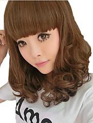 Dlouhé kudrnaté vlasy Světle hnědá syntetická Plný Bang Paruky