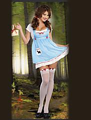 Sladká dívka Modrá Mřížky vzor Maid Uniform