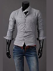Wshgyy Pánské Stripe Long Sleeve Bodycon práce Gray Shirt