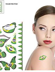 2ks Butterfly Pattern Brazil World Cup Vodotěsné tetování těla Dočasné Glitter Samolepky