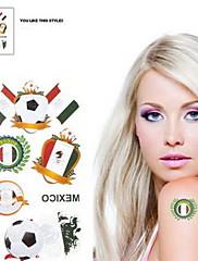 2ks Fotbal vzor Mexico World Cup Vodotěsné tetování těla Dočasné Glitter Samolepky