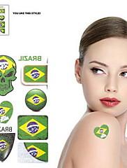 2ks Lebka vzor Brazil World Cup Vodotěsné tetování těla Dočasné Glitter Samolepky
