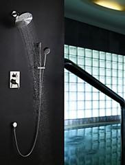 Současné Nástěnná montáž Dešťová sprcha Včetne sprchové hlavice with  Keramický ventil Single Handle pěti jamkách for  Broušený nikl ,