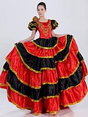 スペインレッドポリエステル女性の民族衣装の王室の女王