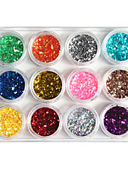 12-ti barevný plast Twinkle nehty umělecké ozdobné mini oplatky