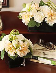 8 'H Elegante arreglo floral (blanco y cuadrado)