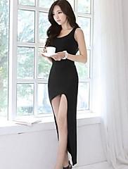 SHA Shi Meng Na Dámská popruh Solid Color Bodycon černé šaty