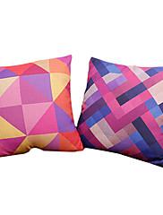 2カラフルな幾何学コットン/リネン装飾枕カバーのセット