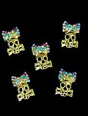 10ks mosaz punková lebka s colorfull drahokamu bowknot nail art dekorace