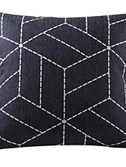 黒の幾何学コットン/リネン装飾枕カバー