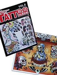 Lubanja dizajna tetovaža uzorak knjigu