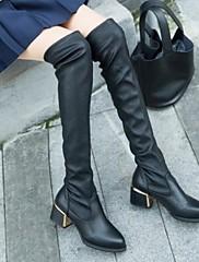 膝のブーツ以上の女性の靴shimandiラウンドつま先分厚いかかと