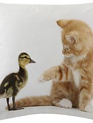 2アヒルの子と子猫パターンのベルベットの装飾枕カバーのセットtwopages®