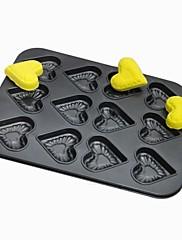 ケーキパンタルト用耐熱皿高品質炭素鋼12ホールのハート型のベーキング金型