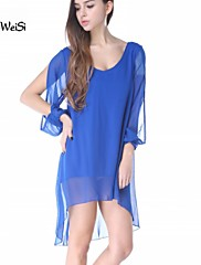 Nuo Wei Si Women's Chiffon V-neck A-line Long Sleeve Dresses