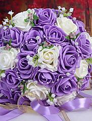 Magnifique bouquet de roses violettes er blanches avec perles