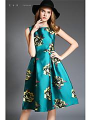 Dámské Květiny Délka ke kolenům Polyester Šaty Kulatý Bez rukávů