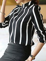 婦人向け スタンド Tシャツ , コットン混 長袖
