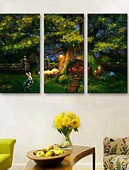 Zvíře / Krajina Na plátně Tři panely Připraveno k Pověste , Vertikální