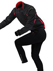 GETMOVING パンツ付きサイクリングジャケット 男女兼用 長袖 バイク フリースジャケット / フリース ジャージー 洋服セット 防水 保温 速乾性 防風 人間工学デザイン 絶縁 透湿性 防雨 耐久性 高通気性 反射性ストリップ 後ポケット 防滑り 耐衝撃性の