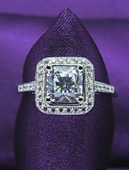samice klasický čtvercový tvar platinovaného 925 mincovní stříbro, zirkony angažovanost, snubní prsten