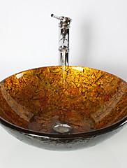 現代風 1.2*42*14.5 円形 シンク材質 あります 強化ガラス 洗面ボウル 水栓 取付リング 排水ドレイン