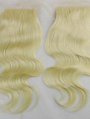 """4 """"×4"""" 10 """"-20""""中央部のレースの閉鎖ヘアピース#613金髪ブラジルの実体波の上部閉鎖レミ人間の髪の毛の閉鎖"""