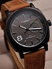 石英の男性の女性が見カレン8139ファッションホワイトダイヤルブラウンレザーストラップビジネスクロック軍の軍事腕時計