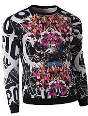 Herrer Afslappet/Hverdag Sweatshirt Trykt mønster Rund hals Polyester Mikroelastisk Langærmet Efterår Vinter