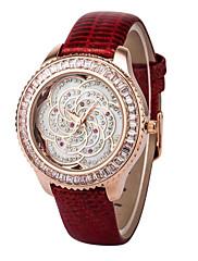 dámské velkorysý posázený diamanty květina volbou kůže kolo kapela quartz analogové náramkové hodinky (Smíšený Barva)