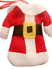 クリスマスディナーテーブルパーティの装飾(1セット)のためのナイフフォークの布カバーのサンタの服とズボン