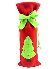 クリスマスディナーテーブルパーティの装飾のためのワインボトル布カバーでクリスマスツリーの蝶ネクタイ(1枚)