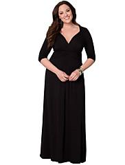 Dámské Nabírané šaty Maxi Polyester Šaty Hluboké V Tříčtvrteční rukáv