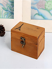 ロック付きヴィンテージの木製の塔ボックス木材工芸家具インテリア収納ボックス