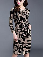 婦人向け ストリートファッション シース ドレス,プリント 膝上 ラウンドネック ナイロン