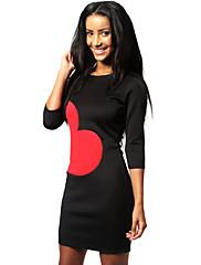 婦人向け シンプル シース ドレス,プリント 膝上 ラウンドネック コットン / ポリエステル