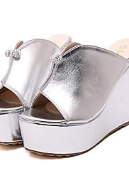 Ženske cipele-Sandale / Papuče-Aktivnosti u prirodi / Ležerne prilike-Umjetna koža-Puna potpetica-Pune pete / Štikle-Srebrna / Zlatna