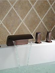 伝統風 ローマンバスタブ 滝状吐水タイプ / ハンドシャワーは含まれている with  セラミックバルブ 3つのハンドル5つの穴 for  オイルブロンズ , 浴槽用水栓