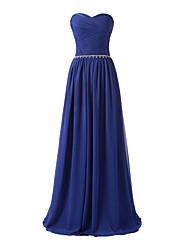 フォーマルイブニング ドレス Aライン スイートハート フロア丈 シフォン とともに クリスタル装飾