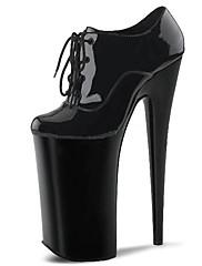 女性-ドレスシューズ カジュアル パーティー-エナメル レザーレット-スティレットヒール プラットフォーム-プラットフォーム クラブシューズ 靴を点灯-ヒール-ブラック グレイ