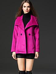 frmz作業シンプルcoatsolidはラペル長袖の冬紫色のフェイクファー/ポリエステル媒体をピークに達しました