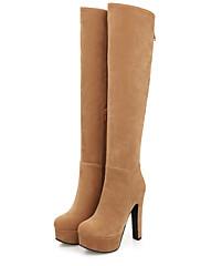 女性-オフィス カジュアル-レザーレット-チャンキーヒール-ファッションブーツ-ブーツ-ブラック ブラウン イエロー