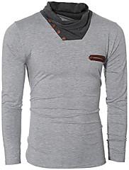 Masculino Camiseta Esportes Bandagem Para Noite Casual Trabalho Simples Moda de Rua Activo Outono Inverno,Sólido Estampa ColoridaAlgodão