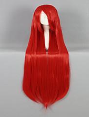 高品質の合成古典的な女性は100センチメートル長いストレート赤コスプレ、カスタマーパーティーかつらかつら