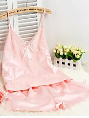 Ženy Ultra sexy Noční prádlo,Sexy Jednobarevné-Střední Hedvábí Růžová Šedá Černá