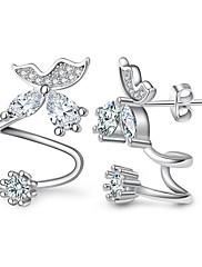 スタッドピアス クリップイヤリング ダイヤモンド クリスタル ダブルレイヤー セクシー ファッション 調整可能 あり アレルギー対策 純銀製 ハート フラワー リーフ ゴールド シルバー ジュエリー のために 結婚式 パーティー 日常 カジュアル 1ペア