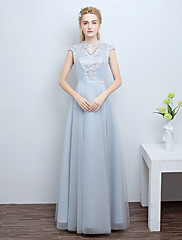 Formální večerní šaty - vintage inspirovaný a-line vrubový dlaň-délka s aplikací