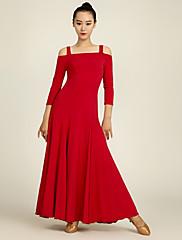 Ballroom Dance Dresses Performance Chinlon Draped 1 Piece 3/4 Length Sleeve Natural Dress S:128cm  M:129cm L:130cm XL:131cm XXL:132cm
