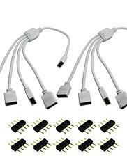 KWB 2ks / Lot 1 až 4 porty žena připojovací kabel 4 pin splitter pro vedl barevných měnící se pásovými světel získat zdarma 10ks kolíky