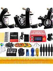 Kompletan Tattoo Kit 3 x legure tetovaža stroj za obloge i sjenčanje 3 Tattoo Machines LCD napajanja Tinte dostavljaju odvojeno